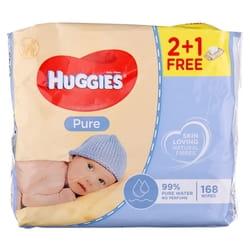 Салфетки влажные детские HUGGIES (Хаггис) Pure (Пьюр) Triplo 2+1 168 шт