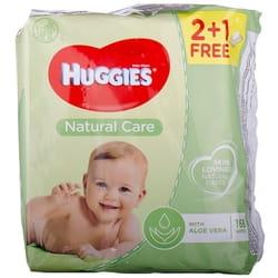 Салфетки влажные детские HUGGIES (Хаггис) Natural Care Triplo 2+1 168 шт