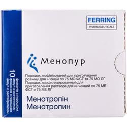 Менопур пор.лиоф.д/п р-ра д/ин.75 МЕ ФСГ/75 МЕ ЛГ фл. + раств. амп. 1мл №10