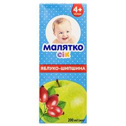 Сок фруктовый детский Малятко яблочный с шиповником 200 мл