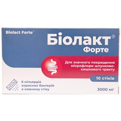 Биолакт Форте порошок для улучшения функций желудочно-кишечного тракта по 3000 мг в стиках 10 шт