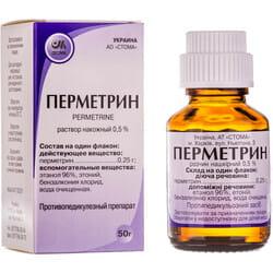 Перметрин р-р накож. 0,5% фл. 50г