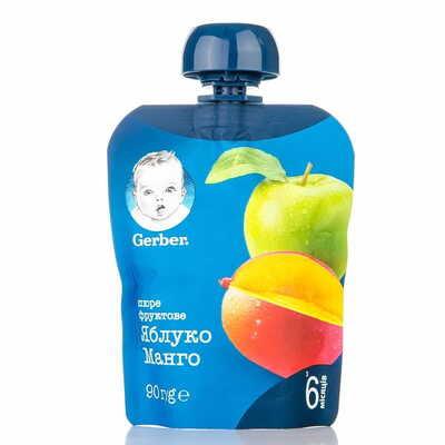 Пюре фруктовое детское NESTLE GERBER (Нестле Гербер) Яблоко и манго с 6-ти месяцев мягкая упаковка 90 г