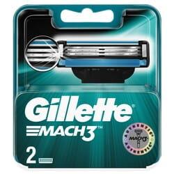 Кассеты сменные для бритья GILLETTE Mach 3 (Жиллет мак 3 три) 2 шт