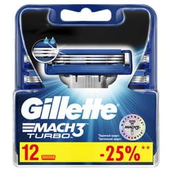 Кассеты сменные для бритья GILLETTE Mach 3 (Жиллет мак 3 три) Turbo 12 шт