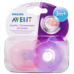 Пустышка силиконовая ортодонтическая AVENT (Авент) SCF 194/04 фигурная для девочки от 3 месяцев 2 шт