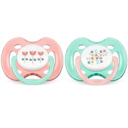 Пустышка силиконовая ортодонтическая AVENT (Авент) SCF 172/02 для девочки от 0 до 6 месяцев 2 шт