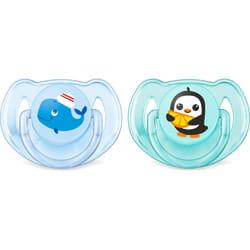 Пустышка силиконовая ортодонтическая AVENT (Авент) SCF 169/37 Classic (классик) (кит и пингвин) для мальчика от 6 до 18 месяцев 2 шт