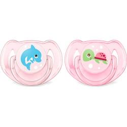 Пустышка силиконовая ортодонтическая AVENT (Авент) SCF 169/38 Classic (классик) (дельфин и черепашка) для девочки от 6 до 18 месяцев 2 шт