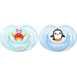 Пустышка силиконовая ортодонтическая AVENT (Авент) SCF 169/35 Classic (классик) Краб и пингвин для мальчика от 0 до 6 месяцев 2 шт