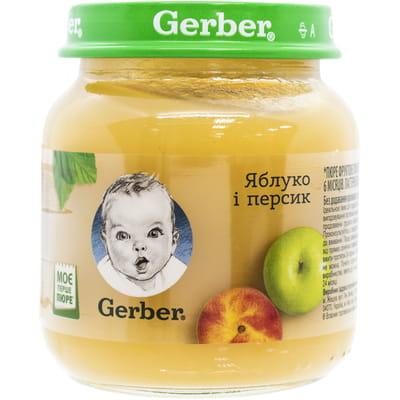 Пюре фруктовое детское NESTLE GERBER (Нестле Гербер) Яблоко и персик 130 г