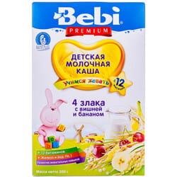 Каша молочная детская KOLINSKA BEBI Premium (Колинска беби премиум) 4 злака с вишней и бананом 200 г
