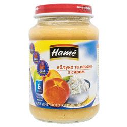 Пюре фруктовое детское HAME (Хаме) Яблоко и персик с творогом с 6 месяцев 190 г