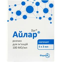 Айлар р-р д/ин. 100МЕ/мл картридж 3мл №5