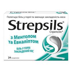 Стрепсилс ментол-эвкалипт леденцы №24