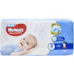 Подгузники для детей HUGGIES (Хаггис) Ultra Comfort (Ультра комфорт) 3 для мальчиков от 5 до 9 кг 56 шт