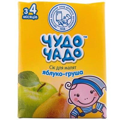 Сок детский ЧУДО-ЧАДО яблочно-грушевый с мякотью и сахаром с 4 месяцев 200 мл