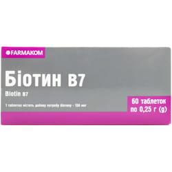 Биотин В7 таблетки для красоты волос, кожи и ногтей 6 блистеров по 10 шт