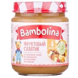 Пюре фруктовое детское BAMBOLINA (Бамболина) Фруктовый салатик с бананом, грушей и персиком с 6-ти месяцев 100 г