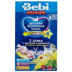 Каша молочная детская KOLINSKA BEBI (Колинска беби) Премиум Для сладких снов 3 злака с малиной и мелиссой для детей с 6-ти месяцев 200 г