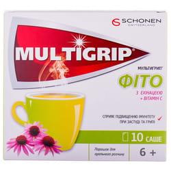 Мультигрип Фито с эхинацеей + витамин С с цинком порошок для орального раствора в саше 10 шт