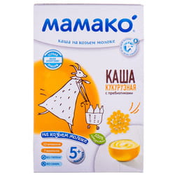 Каша молочная детская МАМАКО Кукурузная с пребиотиками на козьем молоке для детей с 5-ти месяцев 200 г