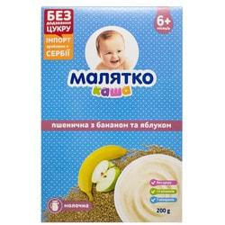 Каша молочная детская МАЛЯТКО Пшеничная с бананом и яблоком для детей с 6-ти месяцев 200 г