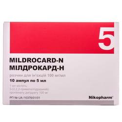 Милдрокард-Н р-р д/ин. 100мг/мл амп. 5мл №10