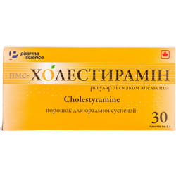 Пмс-холестирамин регулар пор. д/орал. сусп. апел. 4г/9г пакет 9г №30