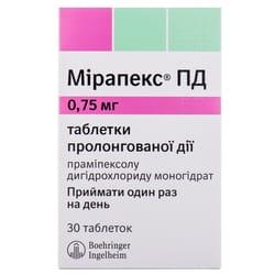 Мирапекс ПД табл. 0.75мг №30