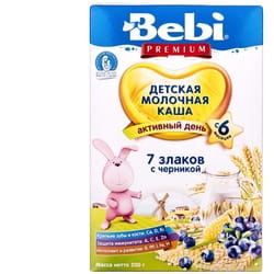 Каша молочная детская KOLINSKA BEBI (Колинска беби) Премиум 7 злаков с черникой для детей с 6-ти месяцев 200 г